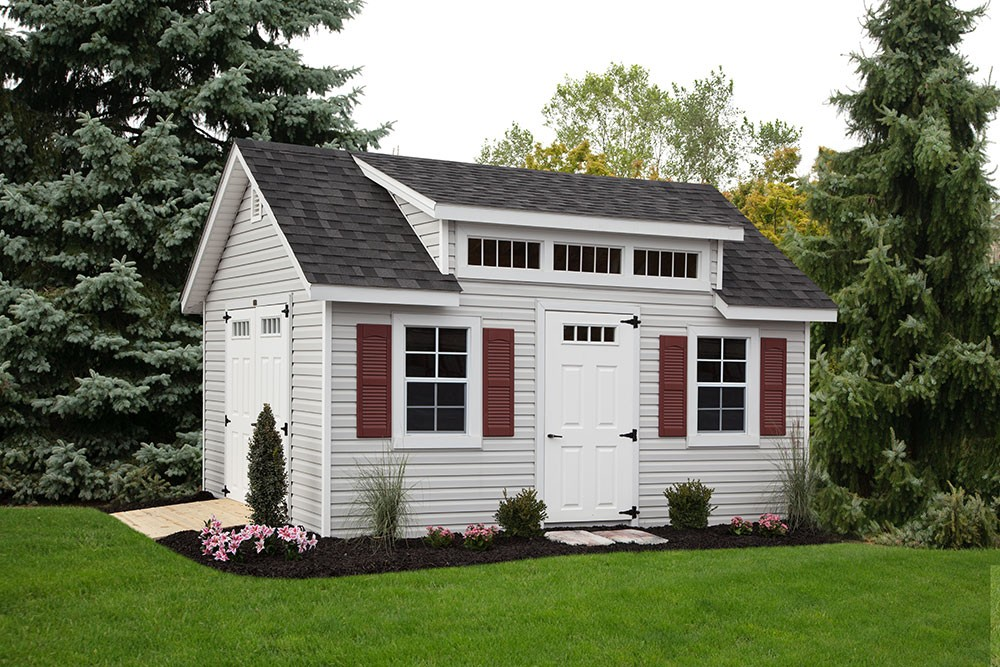 carriage style storage shed